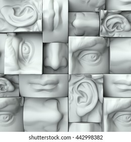 3d render, digital illustration, abstract white blocks, eyes, nose, lips, mouth, anatomy sculptural face details, David sculpture parts