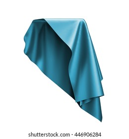 3d render, digital illustration, abstract folded cloth, flying, falling, soaring fabric, unveil, blue curtain, textile cover, isolated on white background