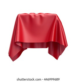 3d render, digital illustration, abstract folded cloth, soaring fabric, red curtain, textile cover, isolated on white background