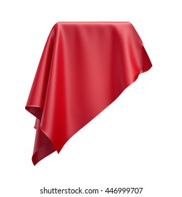 3d render, digital illustration, abstract folded cloth, soaring fabric, unveil, red curtain, textile cover, isolated on white background