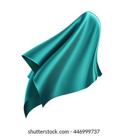3d render, digital illustration, abstract folded cloth, flying, falling, soaring fabric, unveil drapery, teal curtain, blue textile cover, isolated on white background