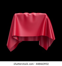 3d render, digital illustration, abstract table cloth, flying, falling, soaring fabric, unveil drapery, red silky curtain, corner, textile cover, isolated on black background