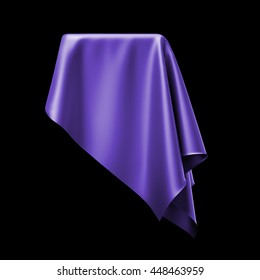 3d render, digital illustration, abstract table cloth, flying, falling, soaring fabric, unveil drapery, violet silky curtain, corner, textile cover, isolated on black background