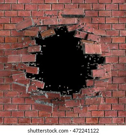 3d render, digital illustration, abstract broken red brick wall background, hole isolated