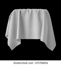 3d render, digital illustration, abstract white cloth, flying fabric,dynamic textile object isolated on black background
