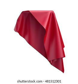 3d render, digital illustration, abstract folded cloth, soaring fabric, unveil, spherical red curtain, textile cover, isolated on white background