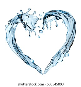 3d render, digital illustration, abstract water wave, heart shape splashing, liquid splash, design element, isolated on white background