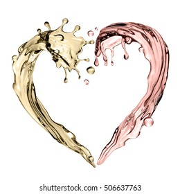 3d render, digital illustration, abstract champagne wave, heart shape, liquid splashing set, design elements isolated on white background