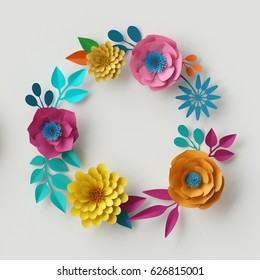 3d render, digital illustration, abstract frame, colorful paper flowers, round wreath, quilling craft, handmade festive decoration, vivid floral background, mint pink yellow, Boho card template