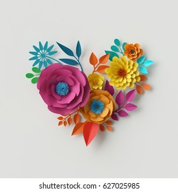 3d render, digital illustration, abstract colorful paper flowers, quilling craft, handmade festive decoration, vivid floral heart, vibrant background, mint pink yellow