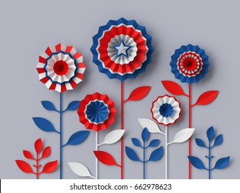 3d render, digital illustration, abstract red blue paper flowers, party decoration, 4th july patriotic background, USA independence day celebration