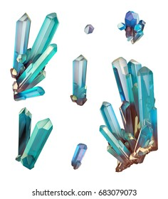3d render, digital illustration, abstract aquamarine blue crystals, faceted gem, geology, nugget, minerals collection, clip art, isolated on white background