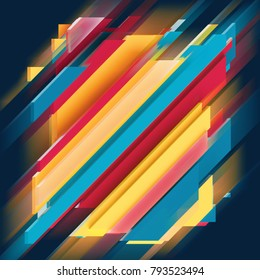 3d render, digital illustration, abstract geometric background, blue red yellow stripes, flat layers, square pattern
