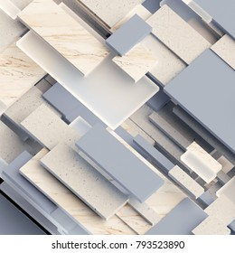 3d render, digital illustration, abstract geometric background, marble and glass blocks, interior decorative panels, bricks, layers, pattern