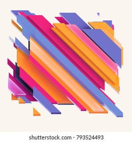 3d render, digital illustration, abstract geometric background, vivid colorful stripes, flat layers, isolated pattern