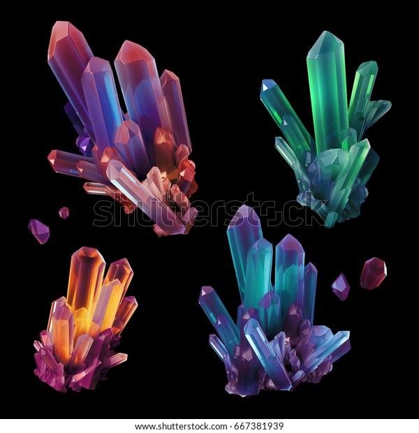 3d Render Digital Illustration Assorted Colorful Stock Illustration