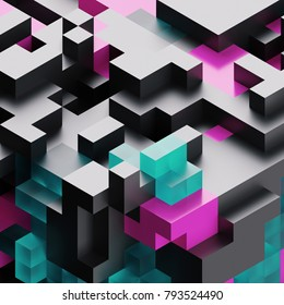 3d render, digital illustration,  black glass abstract background, voxel pattern