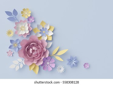 3d render, digital illustration, blue floral background, pastel paper flowers, holiday wall decor, decorative ornament, bridal bouquet, greeting card, horizontal template