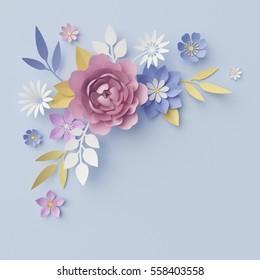 3d render, digital illustration, blue floral background, pastel paper flowers, holiday wall decor, decorative ornament, bridal bouquet, greeting card
