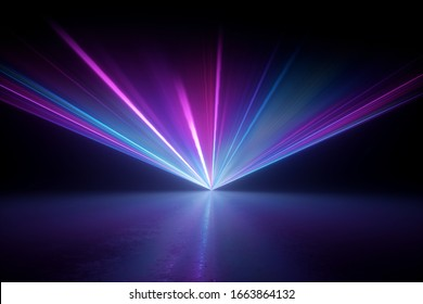 3d render, digital illustration. Bright projector shining on the dark empty stage, laser show, glowing pink blue hypnotic rays, abstract neon light background