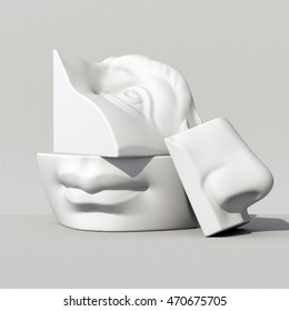 3d render, digital illustration, classic art objects, face details, mosaic, abstract blocks, eyes, ear, nose, lips, mouth, anatomy sculptural elements, David sculpture parts