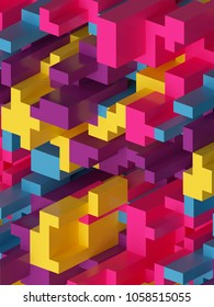 3d render, digital illustration, colorful abstract background, voxel pattern, pink yellow blue, geometric shapes