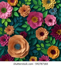 3d render, digital illustration, colorful paper flowers wallpaper, spring summer background