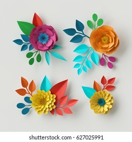 3d render, digital illustration, colorful paper flowers wallpaper, spring summer background, floral design elements isolated on white, vibrant colors, mint pink yellow