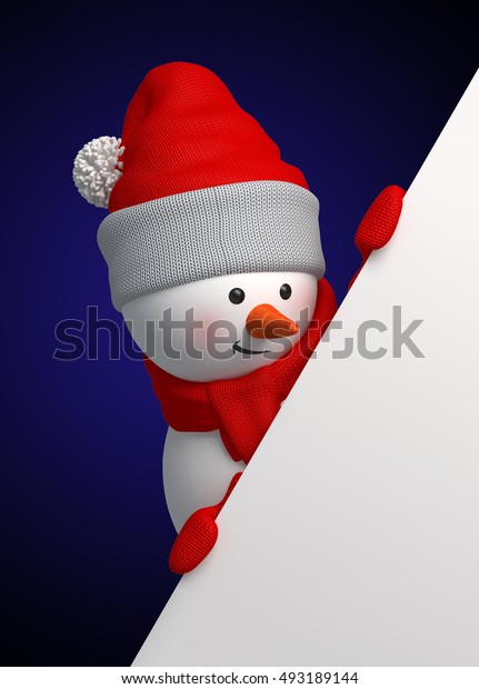 3d render, digital illustration, curious snowman holding blank banner, presentation, page corner, midnight, Merry Christmas greeting card, New Year symbol, winter holiday background