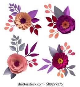 3d render, digital illustration, decorative paper flowers, craft collection, floral design elements set, clip art isolated on white background