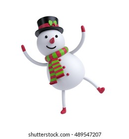 3d render, digital illustration, funny snowman dancing, Christmas toy, holiday clip art isolated on white background