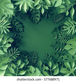 3d render, digital illustration, paper tropical leaves, monstera, palm, green background