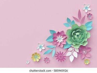 3d render, digital illustration, pastel paper flowers, pink mint floral background, Easter backdrop, Mother's day greeting card, page corner design elements, artistic flower shapes