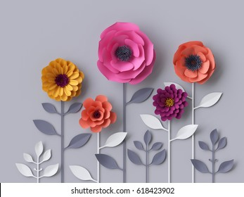 3d render, digital illustration, pink purple red yellow paper flowers wallpaper, spring summer background, isolated, floral design elements