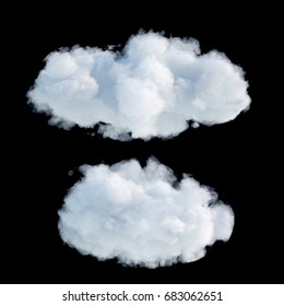 3d render, digital illustration, realistic clouds isolated on black background