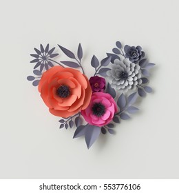 3d render, digital illustration, red pink paper flowers, bridal bouquet, wedding card, quilling, Valentine's day greeting card, beautiful blooming heart shape