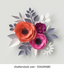 3d render, digital illustration, red pink paper flowers, floral background, wedding card, quilling, Valentine's day greeting card template, bridal bouquet, romantic composition