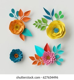 3d render, digital illustration, vivid paper flowers, decorative floral design elements, clip art set, festive decor, isolated on white background