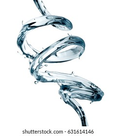 3d render, digital illustration, water spiral jet, clear splash, liquid wave, loops, curvy line, isolated on white background