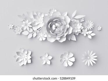 3d render, digital illustration, white paper flowers background, wedding decoration, bridal lace, floral design elements