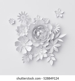 3d render, digital illustration, white paper flowers background, wedding decoration, bridal bouquet, greeting card template, floral wall decor