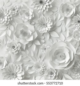 3d render, digital illustration, white paper flowers, floral background, bridal bouquet, wedding card, quilling, greeting card template