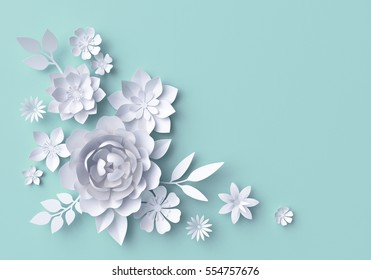 3d render, digital illustration, white paper flowers, Valentine's day decor, pastel floral background, bridal bouquet, wedding, quilling, Easter holiday greeting card
