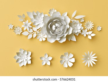 3d render, digital illustration, white paper flowers on yellow background, Easter floral composition, wedding card, quilling, Mother's day