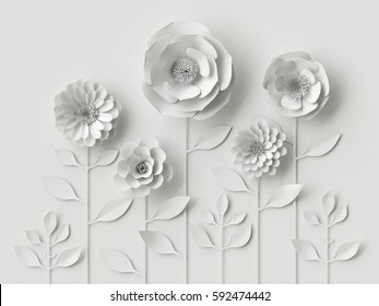 3d render, digital illustration, white paper flowers wallpaper, spring summer background, floral design elements