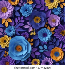 3d render, digital illustration, yellow blue paper flowers design, decorative floral wall, holiday background
