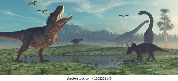 Dinosaurio de 3 dimensiones. Esta es una ilustración de representación 3d.
