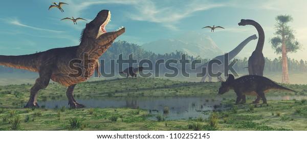 3d рендеринг динозавра. Это 3D визуализация иллюстрации.