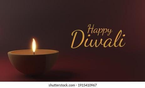 3d render Diya lamp with fire lighting for Diwali, Deepavali or Dipavali, the indian A festival of lights on color background
