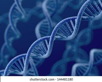 3d render of DNA on blue background